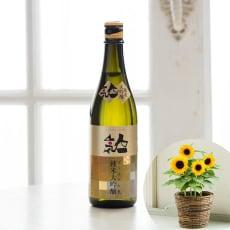 【父の日ギフト用お届け】福島県「人気酒造」ゴールド人気 純米大吟醸&ひまわり鉢植えセット