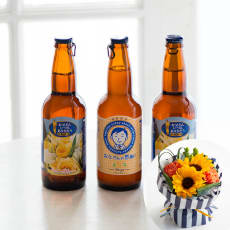 【父の日ギフト用お届け】遠野麦酒(ビール)「ZUMONA」&そのまま飾れる父の日ブーケセット