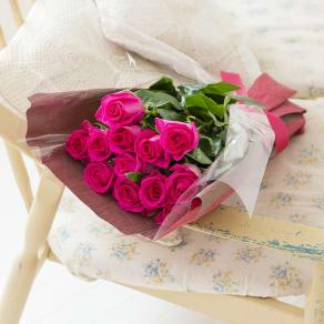 産地直送バラ花束(12本)ピンク系 写真