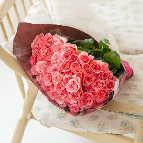 産地直送バラ花束(60本)ピンク系 写真