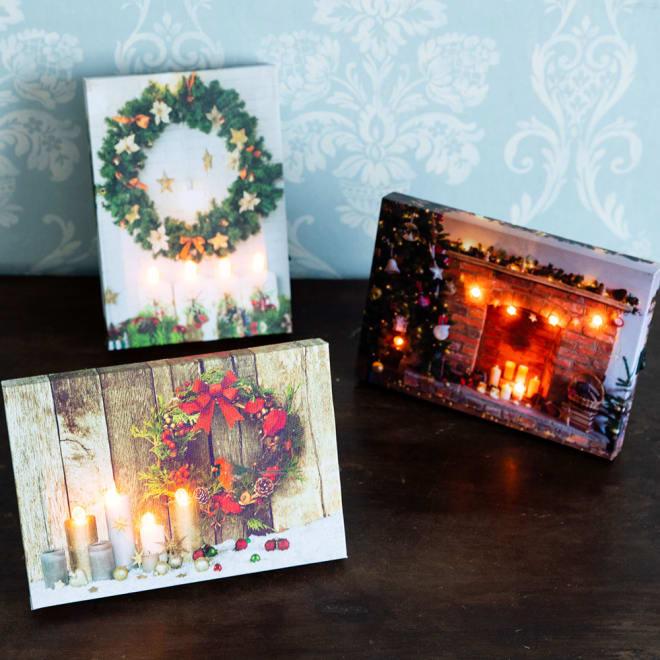 LEDウォールアート3種セット クリスマスムードのあるピクチャーライト3種セット