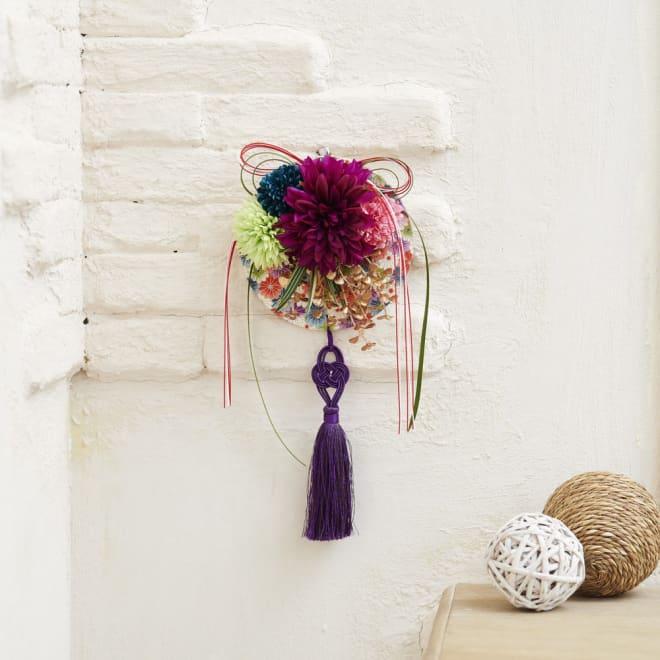 アーティフィシャル正月飾り「ダリアと菊の壁飾」