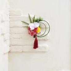 アーティフィシャル正月飾り「胡蝶蘭と菊の壁飾り」