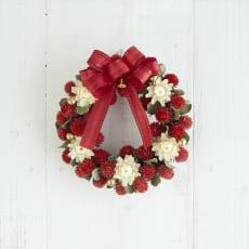 ドライ素材とプリザーブドフラワーのクリスマスリース「チェリーベリー」 写真