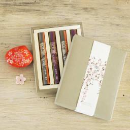 4種の桜のお香&貝の香皿 セット (イ)赤 鮮やかな朱色の香皿とのセットです