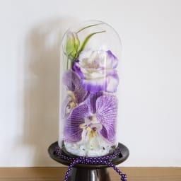 ガラスドームの供花 コチョウラン パープル系の蘭とトルコキキョウで少しフェミニンな印象