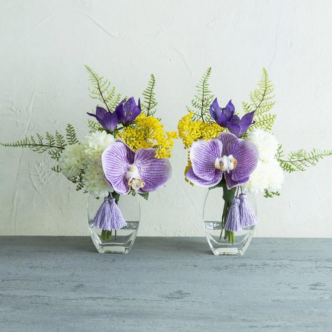 PRIMA(プリマ)供花 マジックウォーター入りコチョウラン パープル系 パープル系の胡蝶蘭を使用したアーティフィシャルの供花