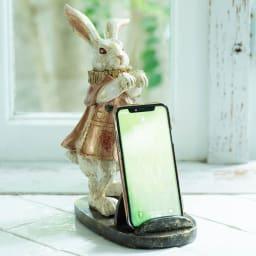 マルチホルダー ウサギ スマートフォン使用時