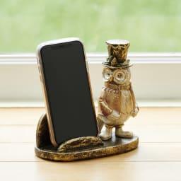 マルチホルダー フクロウ オンライン会議でのスマホ置きに便利です