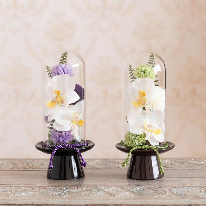 ガラスドームの供花 胡蝶蘭 長くそのまま飾れるお供え花 左:パープル系 右:グリーン系