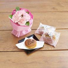【母の日ギフト】「ありがとう」みつ豆 どら焼き&そのまま飾れるマザーズブーケ