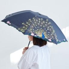 晴雨兼用 二重張り折り畳み日傘 クジャク
