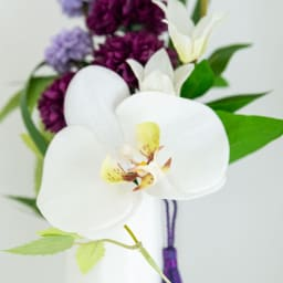 PRIMA ホワイト系胡蝶蘭入り コンパクトアレンジ供花 左側と右側で少し胡蝶蘭の向きや花の配置が異なります。 ア:左