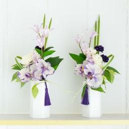 PRIMAパープル系胡蝶蘭入供花アレンジ パープルの斑入りの胡蝶蘭をメインにどこか優しい印象の供花