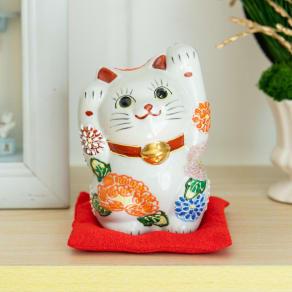 九谷焼 花づくし 両手招き猫 セット 写真