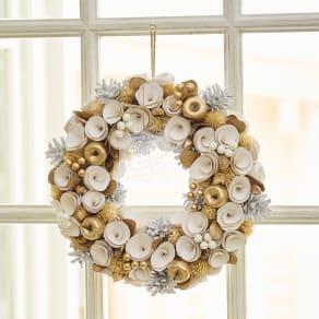 自然素材リース「スノーホワイトクリスマス」 写真
