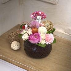 お正月を彩る 生花アレンジ「花てまり」(ピンク)