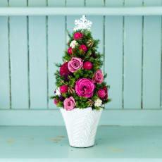 クリスマス ギフト プレゼント プリザーブドフラワー テーブルツリー ローズ ピンク ドライフラワー アレンジメント 冬 誕生日 日本製