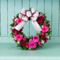 プリザーブドフラワー クリスマスリース ローズ ピンク ドライフラワー アレンジメント 冬 ギフト プレゼント クリスマス 誕生日 日本製