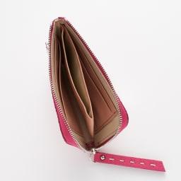 NAGATANI/ナガタニ エスポワールL字コンパクト財布 内側はカラーに合わせて同色のレザーを使用しています。