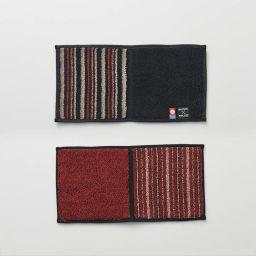 【今治産】縞縞×GOLDPEARL ハーフタオルハンカチ 【10点以上で5%OFF!】 (オ)紅野×英明 裏表で色が異なる2WAYカラー