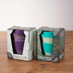 Ecoffee Cup/エコーヒーカップ 容量355ml ウィリアム・モリス柄 1個 かわいいパッケージにいれてお届け。パッケージは表面と裏面になります。パッケージは共通。(イ)Peacock、 (ウ)Seaweed Marine