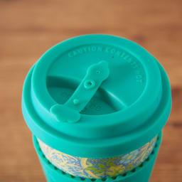 Ecoffee Cup/エコーヒーカップ 容量355ml ウィリアム・モリス柄 1個 飲み口はこぼれ防止用ストッパー付き (ウ)Seaweed Marine