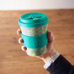 Ecoffee Cup/エコーヒーカップ 容量355ml ウィリアム・モリス柄 1個 ホルダーはシリコーンゴムで熱さを軽減。滑り止めを抑制する効果もあります。(ウ)Seaweed Marine