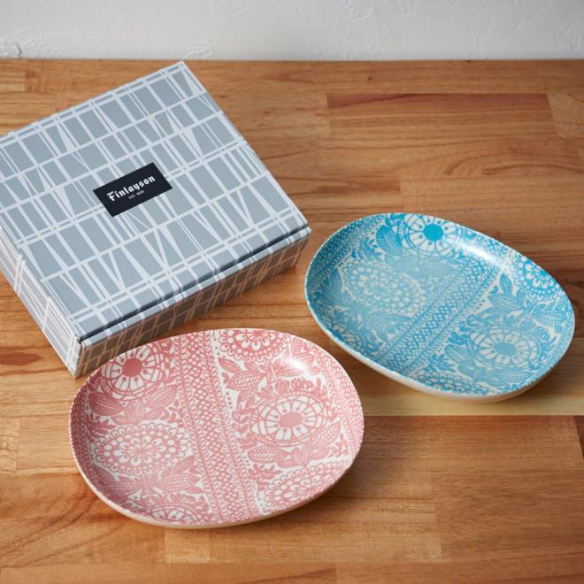 Finlayson ペア オーバルボウル タイミ タイミ柄の可愛いお皿2枚セット。ギフト箱入りでお祝いギフトにもおすすめ。