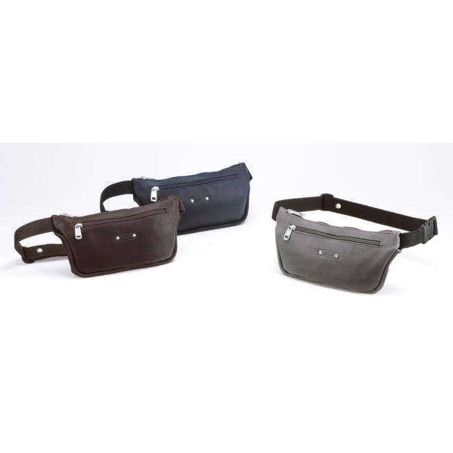 フランス製 カーフスリムウエストバッグ 左から(ア)ダークブラウン、(ウ)ネイビー、(イ)グレー