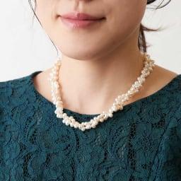 淡水パール編み込ネックレス フォーマルなスタイルにも。