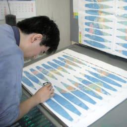 SHOWAGLOBES 絵入りひらがな地球儀 21cm 【伝統の手貼り仕上げ1】印刷と検査。インクの濃度や版のズレが起こらないよう微調整を繰り返し作成します。