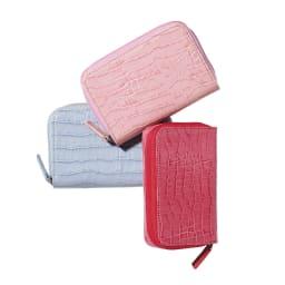 クロコ型押し レザー カードすっきり ラウンドミニ財布 上から (ア)ペールピンク (ウ)ラベンダー (イ)ダークピンク