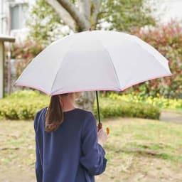 [レディース]小宮商店 甲州織の晴雨兼用折畳み傘 (イ)グレー×ローズピンク