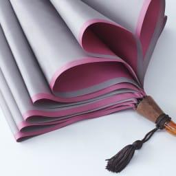 [レディース]小宮商店かさね折畳み傘(名入れ有) (イ)グレー×ローズピンク