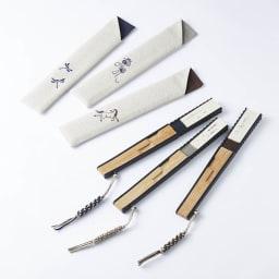 [メンズ]白竹堂 えんぎもの扇子 木箱入り 折り畳んだ状態。