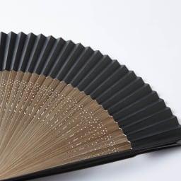 [メンズ]白竹堂 京扇子(脇彩小紋) 桐箱入り 扇面…和紙の色は「黒」共通です