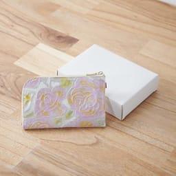LiBERTE/リベルテ 牛革バラ型押し L字コンパク財布 化粧箱に入れてお届け