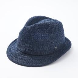 【メンズ】 ドン・ベルモード ウオッシャブルシルク使いの石目編み中折れハット (ア)ネイビー