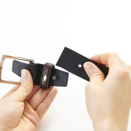KNOT/ノット メンズ イタリアンレザー光沢ベルト 【長さ調整可能】2.ベルトを外します。 ※画像は別のレザーです