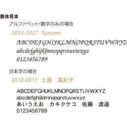 【ディノス限定販売】MOOMIN/ムーミン フルカラー5年日記(連用日記) 名入れあり 名入れ書体見本 アルファベットの他、漢字、カタカナ、ひらかなをゴールドの箔押しで刻印します。