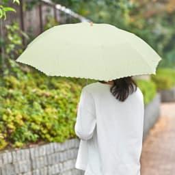 名入れ(イニシャル)オーダー 日本製カットジャカード 刺繍折りたたみ 日傘 (イ)グリーン 使用例
