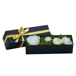 プリザーブドボックス(白ローズ)付き シャンパンギフトセット