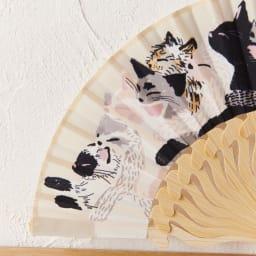 きもの屋さんのつくったミニ扇子 ぎゅうぎゅう猫