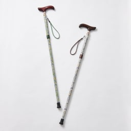 イニシャル名入れオーダー ウィリアム・モリス 日本製 握りやすい簡単折りたたみステッキ 左から(ア)グリーン系 (イ)ブラウン系 美しいウィリアムモリスのロデン柄。