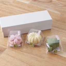 夢み屋 お香入りちりめん京菓子(お供え菓子) (ア)ピンク系 3点セット まるで本物の和菓子のようなパッケージです。