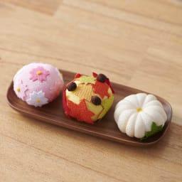 夢み屋 お供えちりめん京菓子       (ウ)オレンジ系 3点セット ※お皿は付属しません