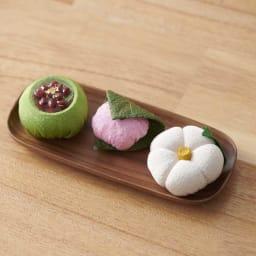 夢み屋 お供えちりめん京菓子       (エ)グリーン系 3点セット  ※お皿は付属しません