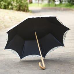女優日傘 花鳥刺繍 長日傘 裏側に黒い生地が貼られることで、1級遮光・紫外線遮蔽率99.9%以上を実現。