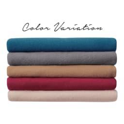 毛布屋さんが作ったespoir肌ざわりここちよいショール 上から(ア)マジョリカブルー、(オ)チャコールグレー、(エ)キャメル、(イ)カーマインレッド、(ウ)ベージュ